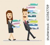 business man and a woman ... | Shutterstock .eps vector #613567709