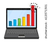 laptop with business graph on... | Shutterstock .eps vector #613571501