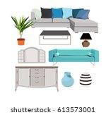 blue furniture set elements... | Shutterstock .eps vector #613573001