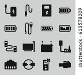 charger icons set. set of 16... | Shutterstock .eps vector #613578209