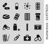 medication icons set. set of 16 ... | Shutterstock .eps vector #613578224