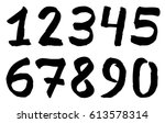 set of black inky numbers | Shutterstock .eps vector #613578314