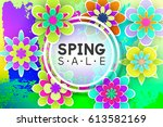 paper flowers and decorative... | Shutterstock .eps vector #613582169
