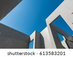 construction site with concrete ... | Shutterstock . vector #613583201
