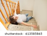 Pregnant Woman Falling Down On...