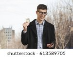 the bank's office worker issues ... | Shutterstock . vector #613589705