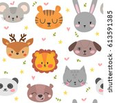 cute seamless pattern with... | Shutterstock .eps vector #613591385