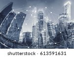smart cityscape and network... | Shutterstock . vector #613591631