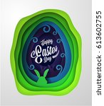 easter greeting card with... | Shutterstock .eps vector #613602755
