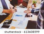 business people brainstorming... | Shutterstock . vector #613608599