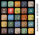 transportation line flat icons... | Shutterstock .eps vector #613610969