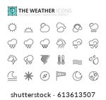 outline icons about the weather.... | Shutterstock .eps vector #613613507