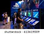 barcelona   jun 16  people play ...   Shutterstock . vector #613619009