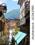 Narrow street of Bellagio at the famous Italian lake Como - stock photo