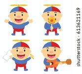happy little kid with propeller ... | Shutterstock .eps vector #613621169