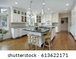 kitchen in luxury home with... | Shutterstock . vector #613622171
