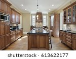 kitchen in luxury home with... | Shutterstock . vector #613622177