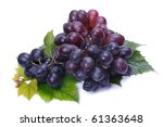 A bunch of dark grapes on a white background - stock photo