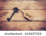 business concept   old key... | Shutterstock . vector #613637324