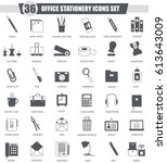 office stationery black icon... | Shutterstock . vector #613643009