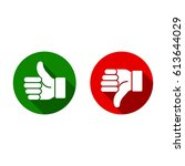 thumb up  thumb down  green and ... | Shutterstock .eps vector #613644029