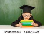 boy in graduation cap with... | Shutterstock . vector #613648625