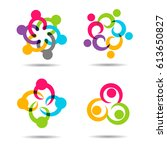 social network team partners... | Shutterstock .eps vector #613650827