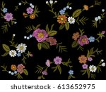 seamless pattern of flowers on... | Shutterstock .eps vector #613652975