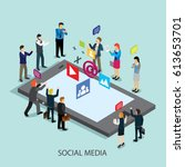 social media on internet with... | Shutterstock .eps vector #613653701