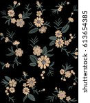 seamless pattern of flowers on... | Shutterstock .eps vector #613654385