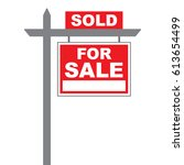basic for sale sign with sold... | Shutterstock .eps vector #613654499