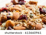close up granola or muesli on... | Shutterstock . vector #613660961