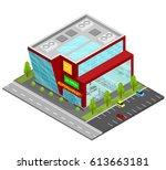supermarket building isometric... | Shutterstock .eps vector #613663181