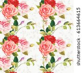 seamless floral pattern three... | Shutterstock .eps vector #613664615