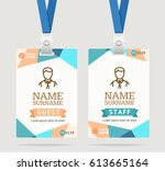 id card template plastic badge... | Shutterstock .eps vector #613665164