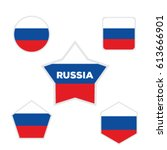 russia flags with various forms ... | Shutterstock .eps vector #613666901