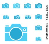 set of photo camera icon or... | Shutterstock .eps vector #613671821