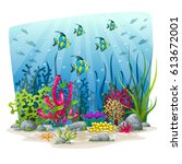 illustration of an underwater... | Shutterstock .eps vector #613672001