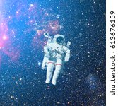 astronaut in outer space.... | Shutterstock . vector #613676159