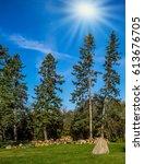 walk on the park in warm... | Shutterstock . vector #613676705