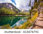 magnificent alpine lake lago di ... | Shutterstock . vector #613676741