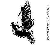 dove isolated on white vector... | Shutterstock .eps vector #613678511