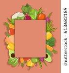 vector vegetable background.... | Shutterstock .eps vector #613682189