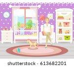 baby room interior. flat design.... | Shutterstock .eps vector #613682201
