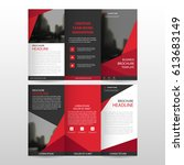 red triangle business trifold...   Shutterstock .eps vector #613683149
