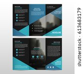 blue triangle business trifold... | Shutterstock .eps vector #613683179