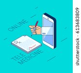 doctor's hand holding a pen.... | Shutterstock .eps vector #613683809
