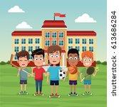 school children sport image | Shutterstock .eps vector #613686284