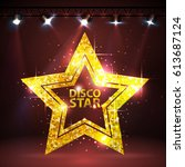 silhouette of gold disco star... | Shutterstock .eps vector #613687124