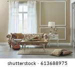 living room classic decoration... | Shutterstock . vector #613688975